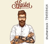 hipster man with beard | Shutterstock .eps vector #754555414