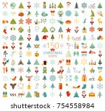 christmas  new year holidays... | Shutterstock .eps vector #754558984