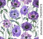 hand drawn watercolor seamless... | Shutterstock . vector #754559473