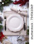 christmas holiday dinner... | Shutterstock . vector #754561069