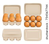 vector egg carton set. white... | Shutterstock .eps vector #754567744