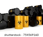 3d rendering yellow barrels... | Shutterstock . vector #754569160