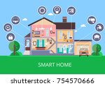 smart home concept vector... | Shutterstock .eps vector #754570666