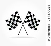 waving finish flags with shadow ... | Shutterstock .eps vector #754577296