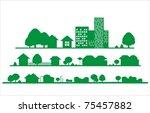 city vector background   Shutterstock .eps vector #75457882