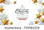 merry christmas sale background ... | Shutterstock .eps vector #754581529