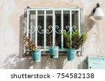 turquoise doors and windows of... | Shutterstock . vector #754582138