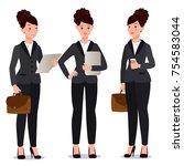 business woman in suit set.... | Shutterstock .eps vector #754583044