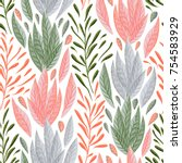 seamless pattern with marine... | Shutterstock .eps vector #754583929