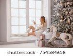attractive caucasian girl... | Shutterstock . vector #754584658