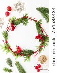 frame with christmas wreath ... | Shutterstock . vector #754586434