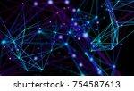 color plexus fantasy lines ... | Shutterstock . vector #754587613