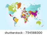 color world map vector | Shutterstock .eps vector #754588300