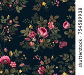 seamless floral pattern with... | Shutterstock .eps vector #754589938