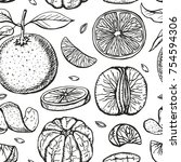oranges  sketch seamless... | Shutterstock . vector #754594306