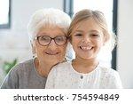 portrait of grandmother with... | Shutterstock . vector #754594849