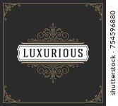 ornament monogram logo design... | Shutterstock .eps vector #754596880