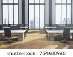 new coworking office interior... | Shutterstock . vector #754600960