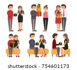 front  side  back view animated ... | Shutterstock .eps vector #754601173
