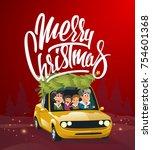 merry christmas illustration ... | Shutterstock .eps vector #754601368