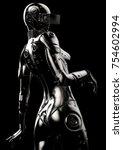 3d illustration. stylish cyborg ...   Shutterstock . vector #754602994