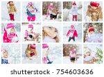 collage children winter photo....   Shutterstock . vector #754603636