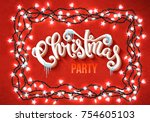 christmas party poster with... | Shutterstock .eps vector #754605103