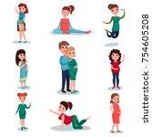 pregnant women characters in...   Shutterstock .eps vector #754605208