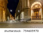 old medieval street in the...   Shutterstock . vector #754605970
