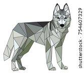 siberian husky polygonal...   Shutterstock .eps vector #754607329