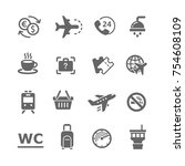 airport icons set | Shutterstock .eps vector #754608109