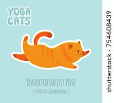 cute cartoon red cat practicing ... | Shutterstock .eps vector #754608439