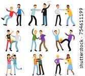 cartoon flat characters of... | Shutterstock .eps vector #754611199