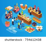 fast food isometric design... | Shutterstock .eps vector #754612438