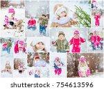 collage children winter photo....   Shutterstock . vector #754613596