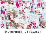 collage children winter photo....   Shutterstock . vector #754613614
