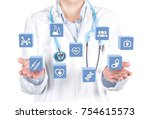 doctor display medical... | Shutterstock . vector #754615573