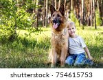young boy relaxing and walking... | Shutterstock . vector #754615753