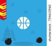 basketball icon. flat ball... | Shutterstock .eps vector #754615960