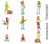 happy and carefree people set.... | Shutterstock .eps vector #754621069