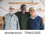 group of multiethnic senior... | Shutterstock . vector #754621303