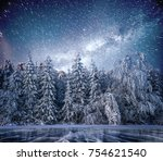 magical winter snow covered... | Shutterstock . vector #754621540