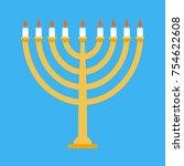 menorah isolated for ewish...   Shutterstock . vector #754622608