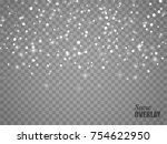 snow overlay on transparent... | Shutterstock .eps vector #754622950