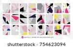 colorful pop art geometric... | Shutterstock .eps vector #754623094