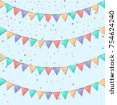 bunting flags. mesmeric... | Shutterstock .eps vector #754624240