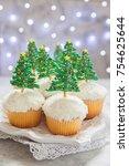 happy holidays. christmas tree...   Shutterstock . vector #754625644