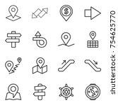 thin line icon set   pointer ... | Shutterstock .eps vector #754625770