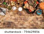 appetizing barbecued steak ... | Shutterstock . vector #754629856
