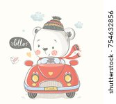 bear in car.hand drawn vector... | Shutterstock .eps vector #754632856